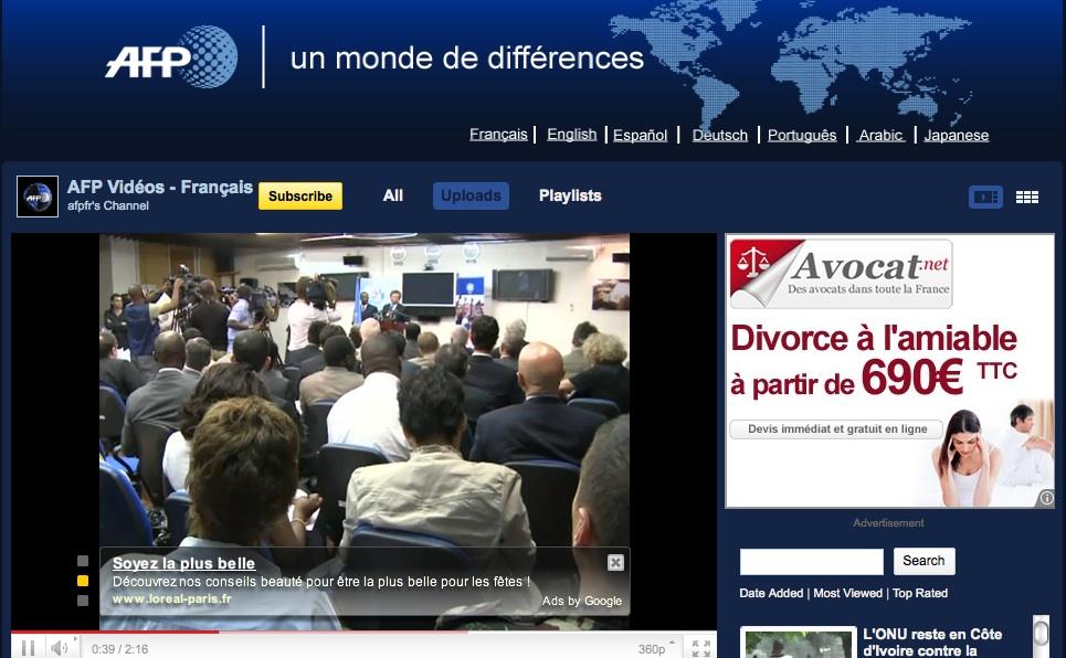 AFP vidéo avec publicités