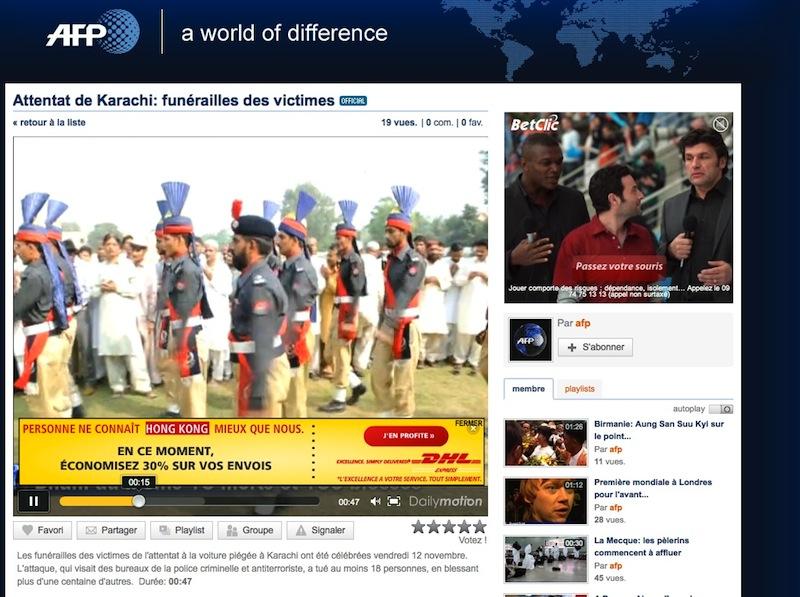 Vidéo AFP attentat Karachi, pub voyages vers Hong Kong
