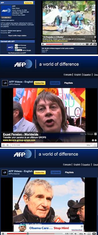 vidéos AFP YouTube Bernard Thibault