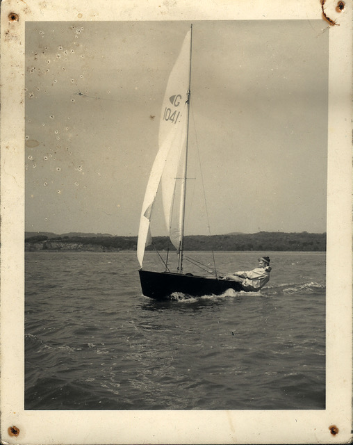 The author sailing his Graduate class dinghy at Arnside, Morecambe Bay some time in the mid 1960's. Photo: Jean Sharp